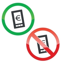 Euro screen permission signs set vector