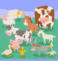 farm animal characters cartoon vector image