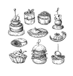 Finger food drawings food appetizer and vector