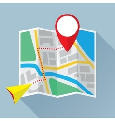 Folding Paper Map with Route Flat Icon vector image