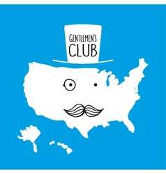 Fun hand drawn moustache cartoon America map vector image