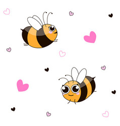 Funny cartoon little bees pattern vector