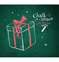 Gift box on green chalkboard background vector