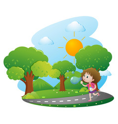 girl blowing bubbles in the park vector image