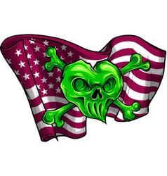 gold skull and flag usa vector image