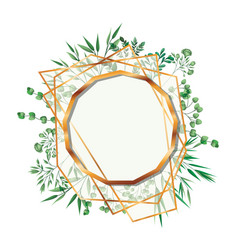 Golden frame dodecagon with foliage isolated icon vector