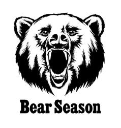 Hand drawn roaring bear t-shirt design vector