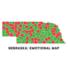 Happiness nebraska state map collage of vector
