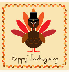 Happy thanksgiving with turkey and pilgrim hat vector