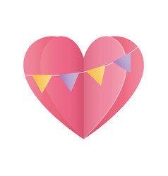 Happy valentines day heart love buntings origami vector