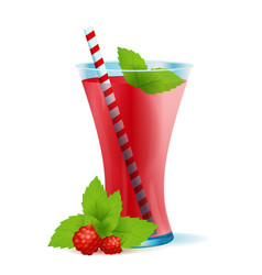 healthy raspberry drink with mint vector image