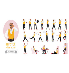 hipster character poses set young bearded hipster vector image