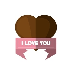 i love you card brown heart card vector image