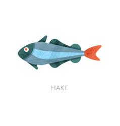 icon of hake fish marine creature sea and ocean vector image