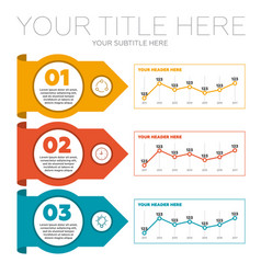 Infographics elements 3 steps and line charts vector