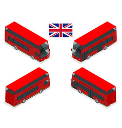 isometric set london double decker red bus vector image