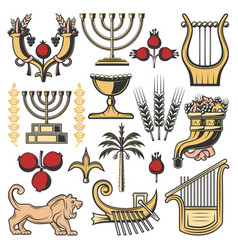 Israel symbols of judaism religion jewish culture vector