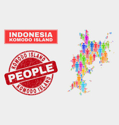 Komodo island map population people and corroded vector
