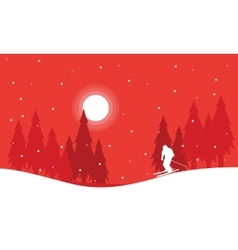 Landscape Christmas winter people skiing vector
