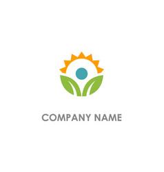 leaf organic sun shine nature logo vector image