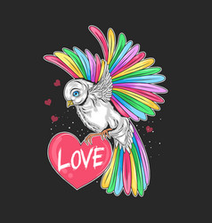love valentine day bird full colour rainbow vector image