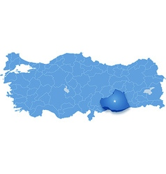 Map of Turkey Sanliurfa vector