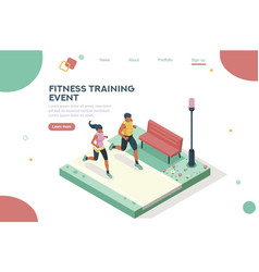 Marathon event homepage isometric vector