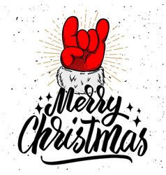 Merry christmas santa claus hand with rock and vector