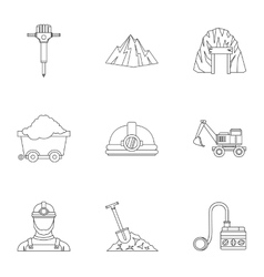 Mining activities icons set outline style vector