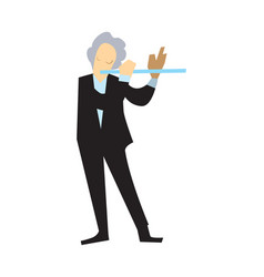 musician playing flute isolated vector image