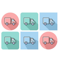 outlined icon of delivery car with parallel and vector image