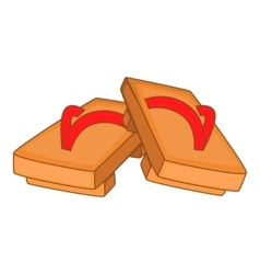 Pair of wooden clogs icon cartoon style vector image