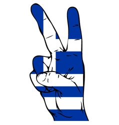 Peace sign of the flag of the Greece vector image
