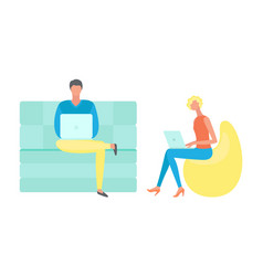 people working with wireless gadget laptop vector image
