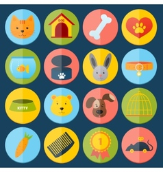 Pets icons set vector
