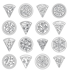 pizza slice icon set outline style vector image