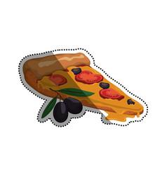 Pizza slice tomato olive vector