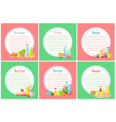 Recipe food preparation and meal set banners set vector