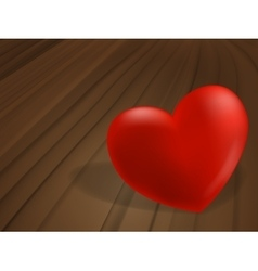 Red heart on wooden desk vector