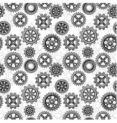 Retro sketch mechanical gears seamless pattern vector