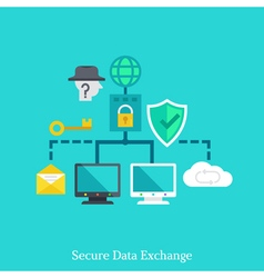 Secure local web and data exchang flat concept vector