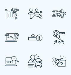 Seo icons line style set with startup upload seo vector