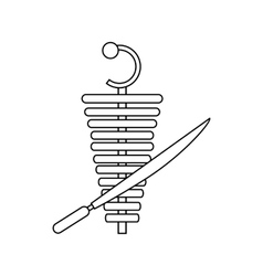 Shawarma meat doner kebab icon outline style vector