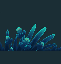 small flowers abstract in blue and black style vector image