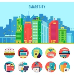 Smart city flat infographic template vector