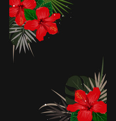 summer corner border with tropical palm leaves vector image