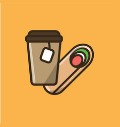tea drink in paper cup with salad roll vector image