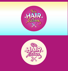 The logo and the of children hair salon vector