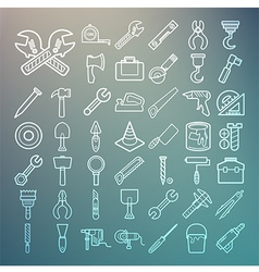 Tools and Equipment icons Set on Retina background vector image