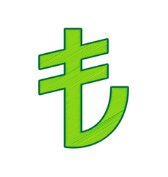turkiey lira sign lemon scribble icon on vector image